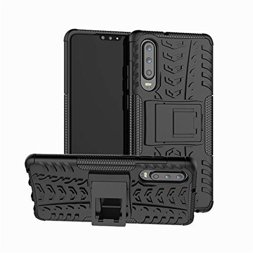 betterfon | Outdoor Handy Tasche Hybrid Case Schutz Hülle Panzer TPU Silikon Hard Cover Bumper für Huawei P30 Schwarz (Case Hard Handy)