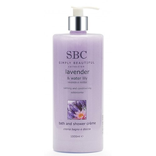 SBC Lavender & Water Lily Shower Creme / Gel with pump dispenser 1000ml/1 litre, FREE Express Delivery