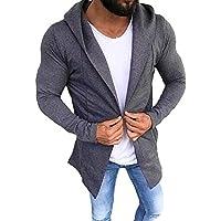 Chaqueta de Hombre de BaZhaHei, Suéter de la Rebeca del Color sólido Ocasional de Hombres Camisetas con Capucha del Ajuste Delgado de la Chaqueta de algodón con Capucha Larga y Delgada de los Hombre