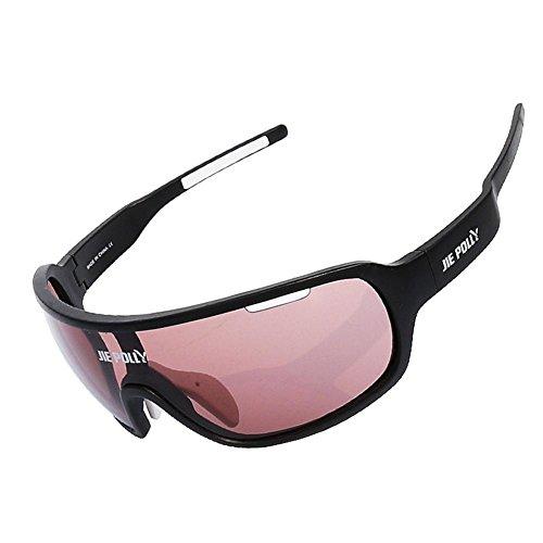 JING Männer und Frauen Outdoor Sports Gläser Anti-Uv Polarisierende Sonnenbrillen Full-Frame Anti-Sand Reitbrillen für Angeln und Klettern, Black