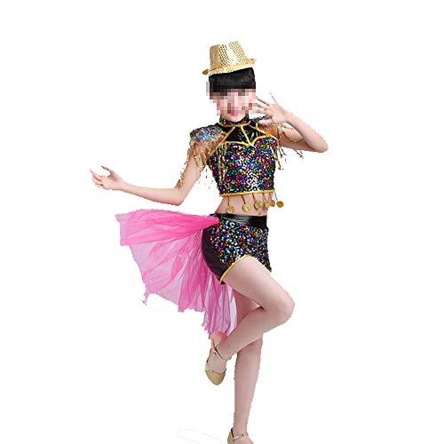 Yzibei Mädchen Schönheitswettbewerb Mädchen Kinder 110-160 cm Fransen Tanzkleid Tanz Bühne Leistung Wettbewerb Ballroom Dance Kostüm Stickerei Ballkleid (Farbe : Schwarz, Größe : 150cm)
