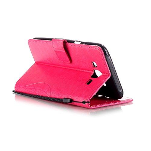 Single Side Motif Gaufré Flower Case En Cuir PU, Résine Case Rhinestone Livre Design Strap Case Pliable Wallet Support Pour Apple Iphone 7 Plus ( Color : Blue ) Rose Red