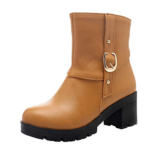 Mymyguoe Winter Stiefel Damen Solide High Heel Lederstiefel Boots Gürtelschnalle Boots Runder Zeh Shoes Schöne Schnalle Pumps Kurzschaft Wildleder Stiefel mit Blockabsatz Ankle Boots Chelsea Boots