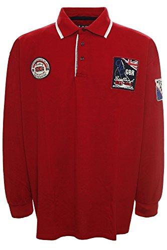KITARO Longsleeve Polo-Sweater S bis 8XL Rot