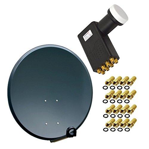 PremiumX 80cm digital SAT Anlage Komplettset Schüssel Alu Anthrazit mit Octo LNB FULL HDTV 4K inkl. 16 F-Stecker