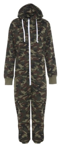 Kids Unisex Boys Girls Hooded Zip Up Onesie Playsuit All In One Piece Jumpsuit For Kids Age 7 8 9 10 11 12 13 (Age 11-12, Army)