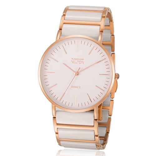 ALEXANDER MILTON - montre femme - CERES, beige/dore rose