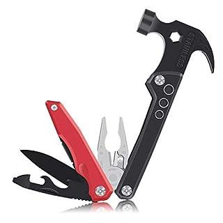Lemebo Multi-Tool Multifunktions Taschenwerkzeug 12-in-1 Edelstahl Zangen & Hammer- Zusammenklappbares Werkzeug mit Tasche, Taschenmesser, Dosenöffner, Schraubendreher für Camping und Alltagsleben