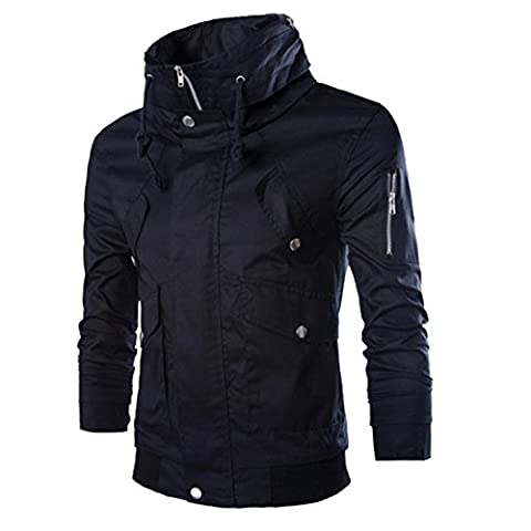 Partiss Herren Slim Fit Freizeit Military Jacken Mantel Rider Zip