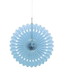Unique Party- Decoración abanico de papel de seda, Color azul claro, 40 cm (63191)