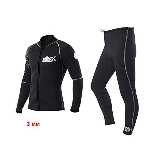 Neoprenanzug Jacke, 3 mm Neoprenjacke Frontreißverschluss Lange Ärmel Neopren-Surfanzug Hosen für Damen Herren Tauchen Surfing Schnorcheln Rafting Schwimmen,Jacket,M -