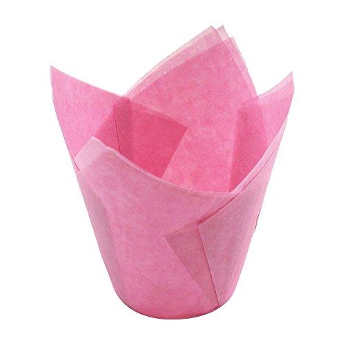 URIJK 50 Stück Kuchen Backen Papierbecher Mini Cupcake Wrappers Tulpe Form Öl-Beweis Vorratsbehälter für Hochzeit Zeremonie Geburtstag Weihnachten
