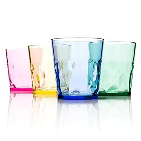 Trinkgläser (250ml) in Premiumqualität – Set mit 4 Bechern – aus farbigem, bruchfestem Tritankunststoff – BPA-frei – hergestellt in Japan – stapelbar und spülmaschinenfest