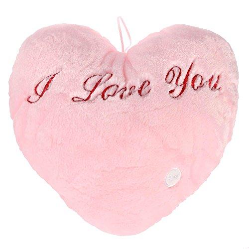 VANKER Romántica luz de 7 colores LED 'I love you' suave y brillante amortiguador de la almohadilla -- Rosa
