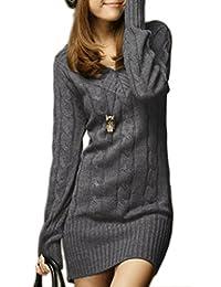 Mikos Sexy Damen Lang Tunika Pullover Strickpullover mit V-Ausschnitt Japan  Style Korea Fashion adde423e52