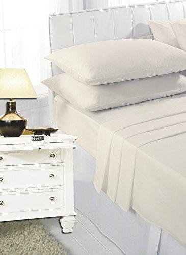 Rayyan linen lenzuola panna–lenzuolo con angoli elasticizzati per letto matrimoniale in 100% cotone egiziano 200fili | lino | bed sheet, 200tc