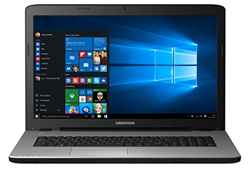 MEDION AKOYA E7424 MD 60150 43,9 cm (17,3 Zoll mattes HD Display) Notebook (Intel Core i3-7100U, 4GB RAM, 1TB HDD, 128GB SSD, Intel HD-Grafik, Win 10 Home) silber