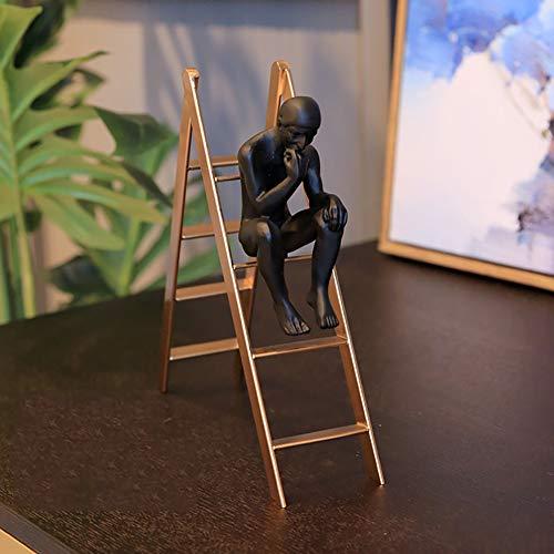 ue, Rodin Art Sculpture Denker Auf Der Treppe Figur Dekoration Für Home-Office-Desktop-bücherregal Tv-ständer golden 35x27x8cm(14x11x3inch) ()