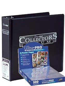 Ultra Pro 3-Ring Collectors Album Black + 100 9-Pocket Silver Pages - Magic: The Gathering (Pro 9 Pocket)