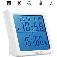 Accevo Termometro Igrometro, Digitale Contatore Termometro Temperatura di umidità, Temperatura e umidità monitorare con sveglia, min/max records, Funzione di Controluce, Ssveglia per casa o uffici