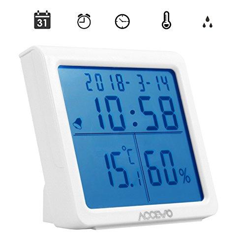 Accevo Thermometer Hygrometer, Digitales Thermo-Hygrometer Monitor Temperatur und Luftfeuchtigkeit mit LCD Display, Blau Hintergrundbeleuchtung, Alarm Wecker, Uhrzeit für Schlafzimmer, Büro (Weiß)