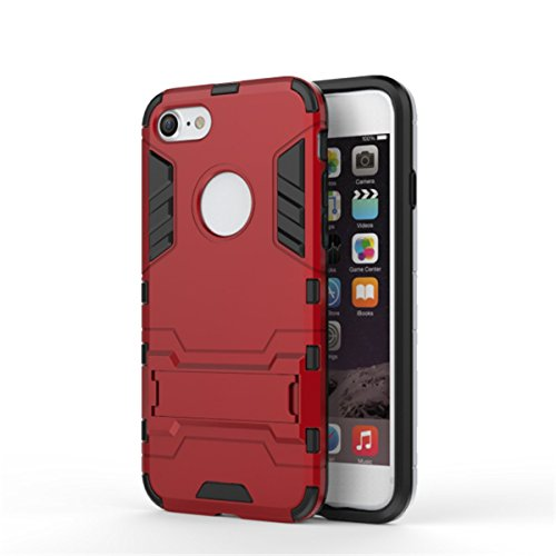 iPhone 7 Hülle, Apple iPhone 7 Hülle, Lifeturt [ Gold ] 2 Layer Hybrid Combo Innere Weiche Silikon Hart Plastik Anti-stoß Schutzhülle Tasche Case Cover für Apple iPhone 7 E2-Rot