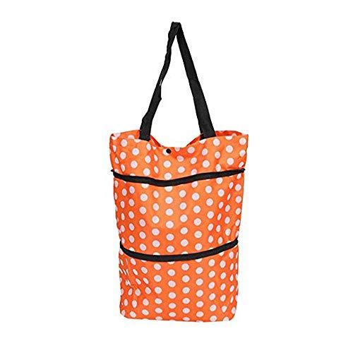 BCL-HJFC Leicht und verschleißfest Einkaufswagen Faltbare Oxford Tuch Einkaufstasche Trolley Auto Einkaufstasche Schlepper Auto Tasche Handtasche (Color : Orange dots)