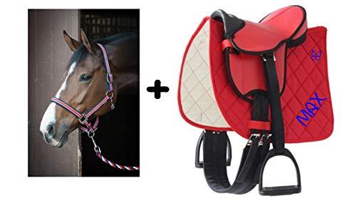 der-pferdeshop Sattelset für Shetty oder Pony mit Namen und Motiv selbst gestalten (Rot mit Halfterset)