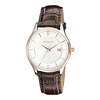 Accurist Men's Quartz Watch with Off-White Dial Analogue Display and Brown Leather Strap MS648.01