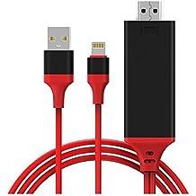 Cable Lightning a HDMI, HOISAN HDTV MHL Adaptador de Cable Plug and Play de Alta velocidad HD 1080P Espejo para Cine en Casa, Rroyector, TV, Conveniente para iPhone/ iPad/ iPod touch - Apoyo iOS 11