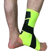 Unisex Tutore per piede e caviglia stabilizzatore Schermo Relief morbido antifatica calzini alla caviglia con tendine conpression Bondage fascia (2pezzi), Uomo, Fluorescent green, M
