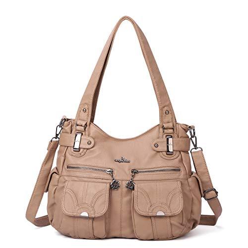 angel kiss Hobo Tasche Schultertaschen Handtaschen Umhängetaschen Henkeltaschen Fredsbruder Taschen Damen Weiches Leder (5739-1-Khaki) -