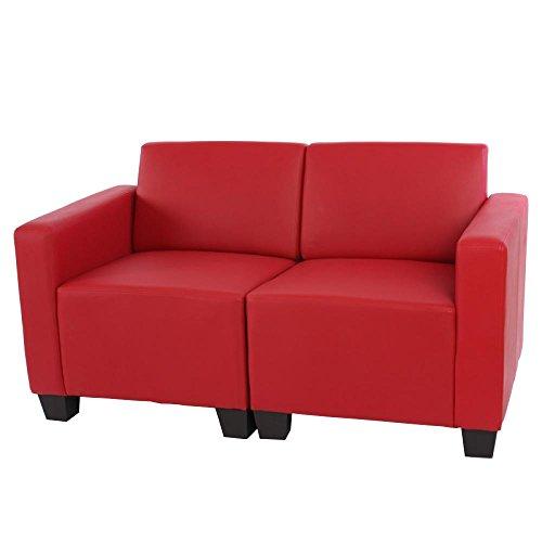 Mendler Canapé 2 Places Lounge/Salon Lyon, modulable, Simili-Cuir, Rouge