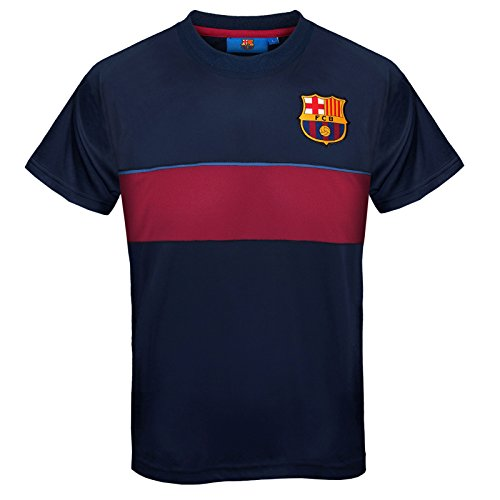 FC Barcelona Official Gift Boys Poly Training Kit T-Shirt Navy Stripe 6-7 Years SB