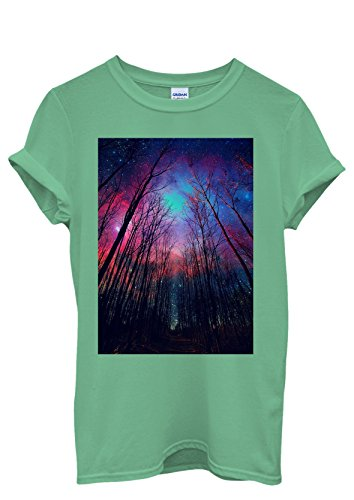 Galaxy Trees Nature Sky Cool Men Women Damen Herren Unisex Top T Shirt Grün