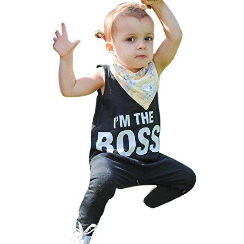 Trikot-outfit (Sannysis Kleinkind Baby Junge Mädchen Brief Jumpsuit Kleid Outfits Kleidung(0.5-3Jahre) (90, schwarz))