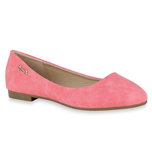 Klassische Damen Strass Ballerinas Elegante Slipper Übergrößen Metallic Glitzer Flats Schuhe 143752 Rot Camiri 39 Flandell - Metallic-leder Ballerina