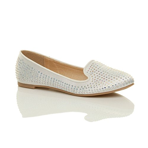 Femmes plat strass mariage soirée ballerine mocassins chaussures pointure Blanc