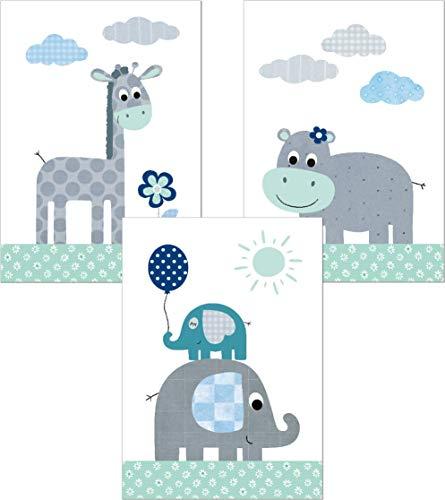 Lalelu-Prints 3er Set Poster Kinderzimmer Deko Junge Mädchen DIN A4 Dschungeltiere mint grün Elefant Giraffe Nilpferd Dschungel Safari I Kinderbilder Wandgestaltung Babyzimmer Wandbilder