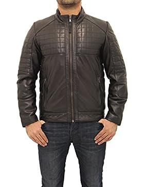 De cuero para hombre Negro Diamante acolchado inteligente equipada con cremallera retro que compite con la chaqueta...