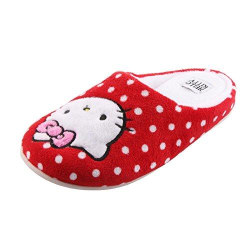 Tierhausschuhe Plüsch Hausschuhe Hello Kitty Katze Pink Rosa Plüsch Pantoffel Schlappen Kinder Mädchen Orig., TH-HelloKitty rot weiß