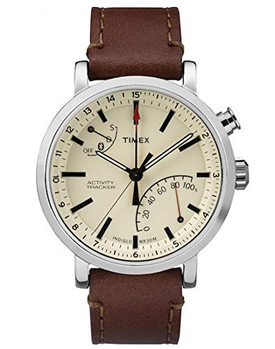 Timex Metropolitan + Bluetooth beige, Brown, Brushed Steel Sport Watch – Sport Uhr (beige, Brown, Brushed Steel, Stainless Steel, Water Resistant, Leather, Mineral, Glass)
