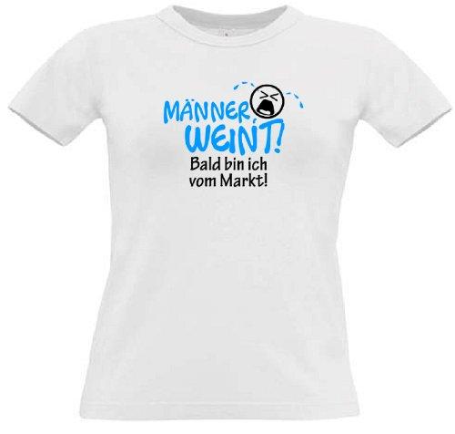 T-Shirt für den Junggesellinnenabschied mit dem Motiv Männer weint - Junggesellin White