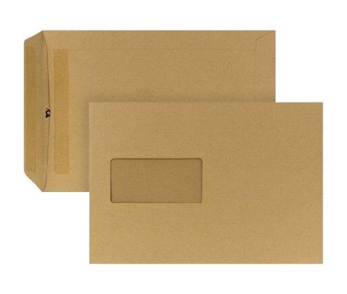 POSTHORN 05240336 Versandtasche mit Fenster, selbstklebend, 500 Stück, C5, 162 x 229 mm, 90 g, braun