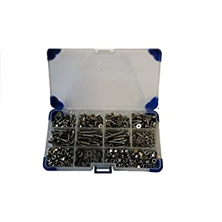 AHC K-10007 700Pc Stainless Steel Countersunk Socket Setscrews with Washers and Nuts M5 5MM