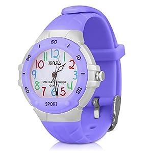 Kinderuhr Armbanduhr Analog für Junge – XREXS Lernuhren Mädchenuhr Zeitlehrer Quarz Sportuhren Jungen Mädchen Analog Uhren für Jungen und Mädchen Kleines Kind