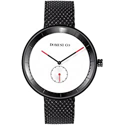 Domeni Co BLM01 Unisex Signature Series Stainless Steel Black Mesh Bracelet White Dial Watch