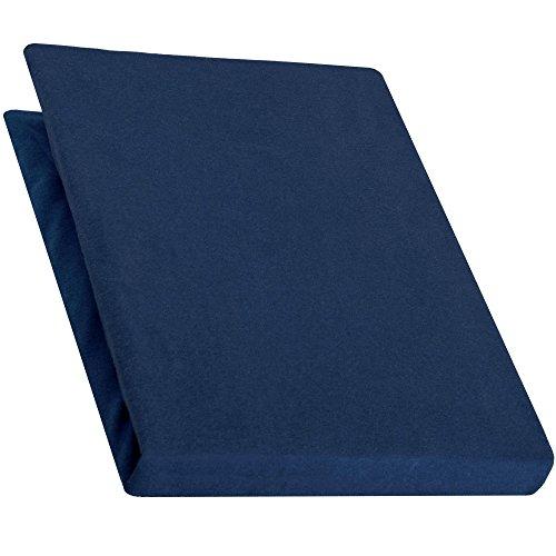aqua-textil Pur Spannbettlaken dunkel blau 90x200 - 100x220 Boxspringbett Wasserbett Bettlaken Jersey Baumwolle 0010157