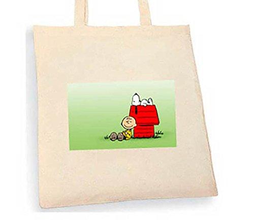 Snoopy Tote bag. Beige cotton bag, Cotton Tote Bag, Can be used as a bag for life shopping bag, handbag, fashion bag, school bag, beach bag, shoulder bag. - handmade-bags