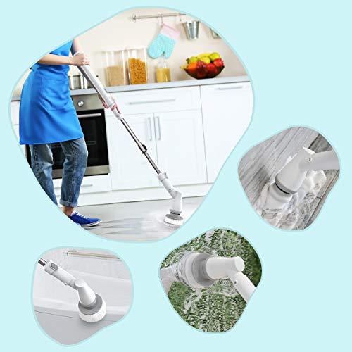homitt spazzola rotante per pulizia casa spin scrubber spinatura ricaricabile con 3 spazzole di pulizia elettriche, 1 maniglia estesa, bianco standard